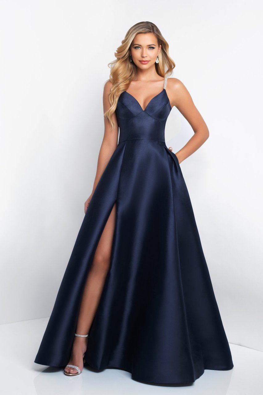 Blush - C1044 Sleeveless Crystal Illusion Back Ballgown Special Occasion Dress 0 / Navy