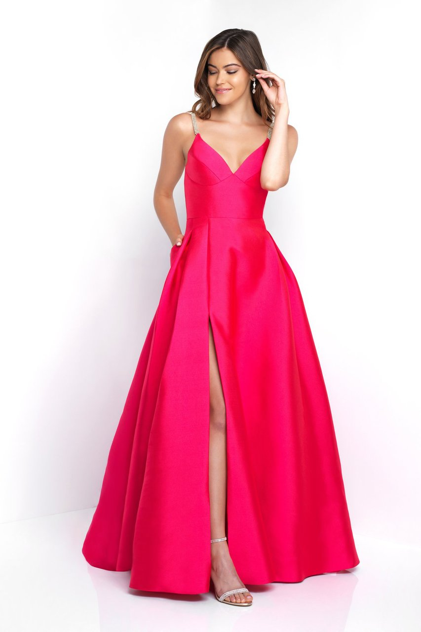 Blush - C1044 Sleeveless Crystal Illusion Back Ballgown Special Occasion Dress 0 / Fuchsia