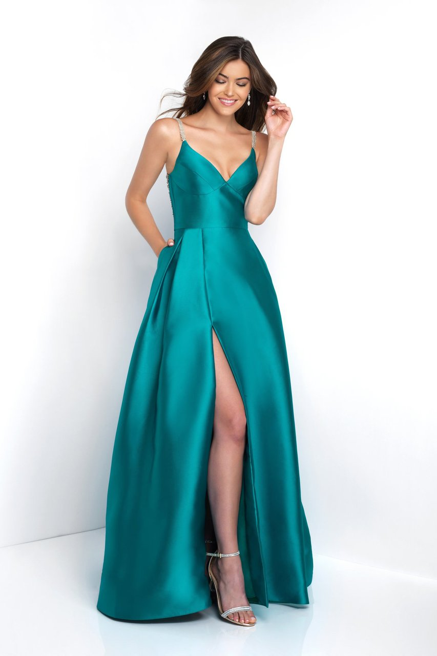 Blush - C1044 Sleeveless Crystal Illusion Back Ballgown Special Occasion Dress 0 / Teal