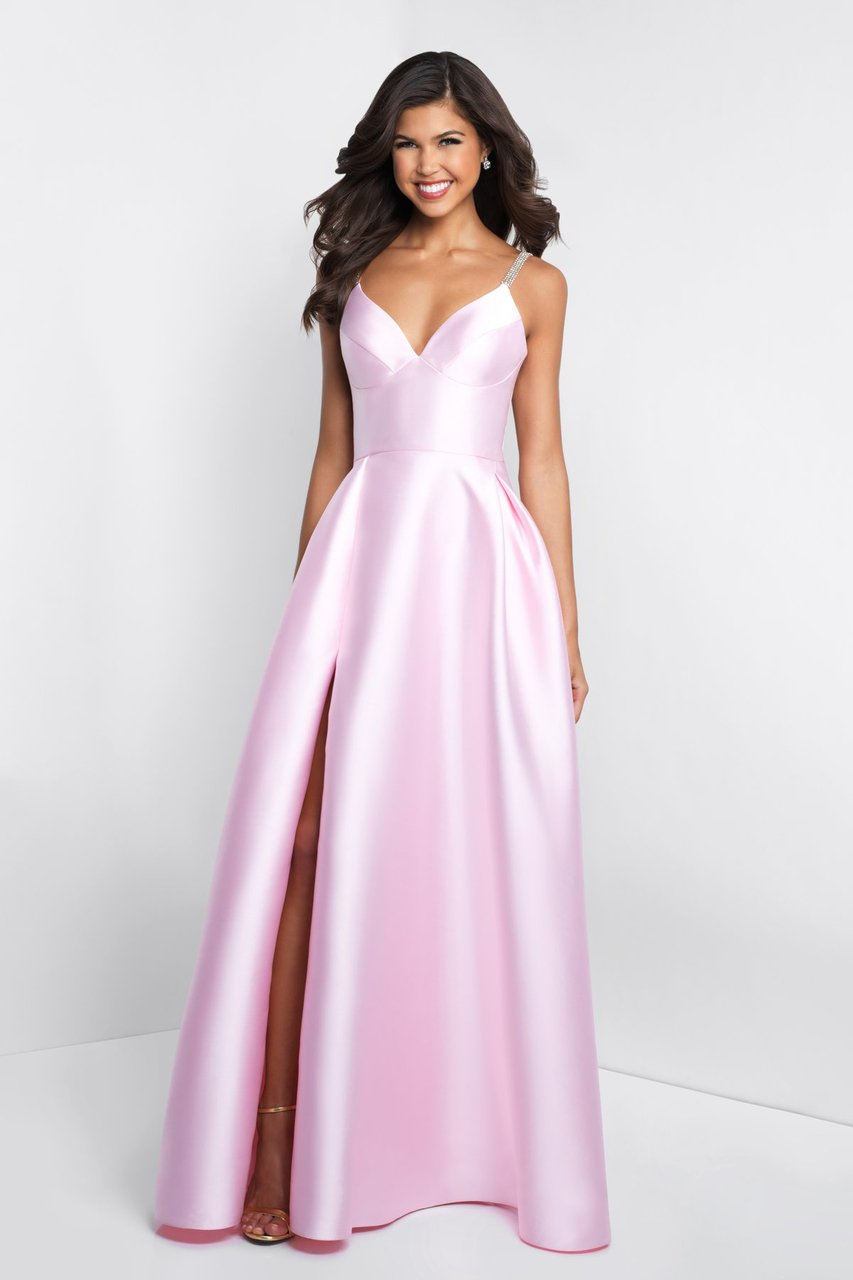 Blush - C1044 Sleeveless Crystal Illusion Back Ballgown Special Occasion Dress 0 / Pink
