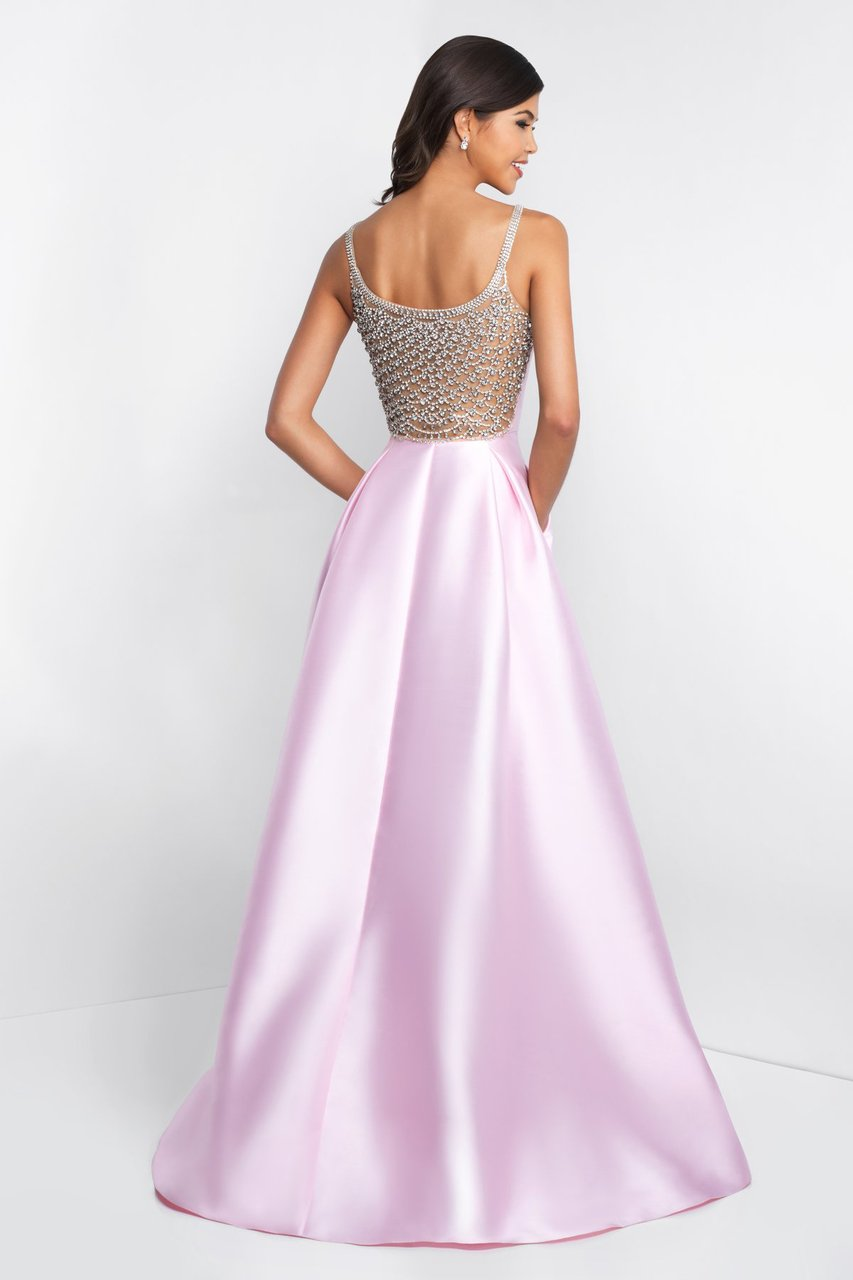 Blush - C1044 Sleeveless Crystal Illusion Back Ballgown Special Occasion Dress