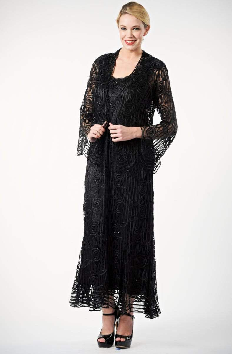Soulmates - C1068 Beaded Silk Lace Collar Jacket with Godet Dress Set Mother of the Bride Dresses Black / S