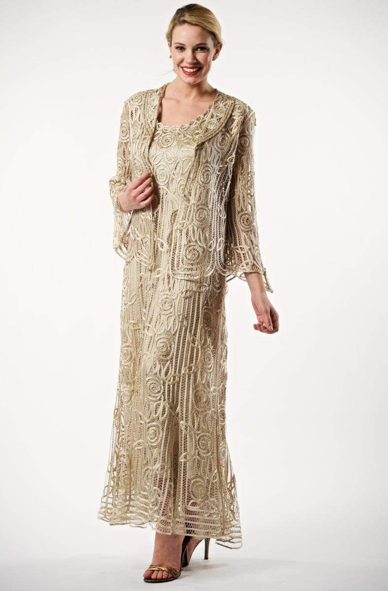 Soulmates - C1068 Beaded Silk Lace Collar Jacket with Godet Dress Set Mother of the Bride Dresses Champagne / S