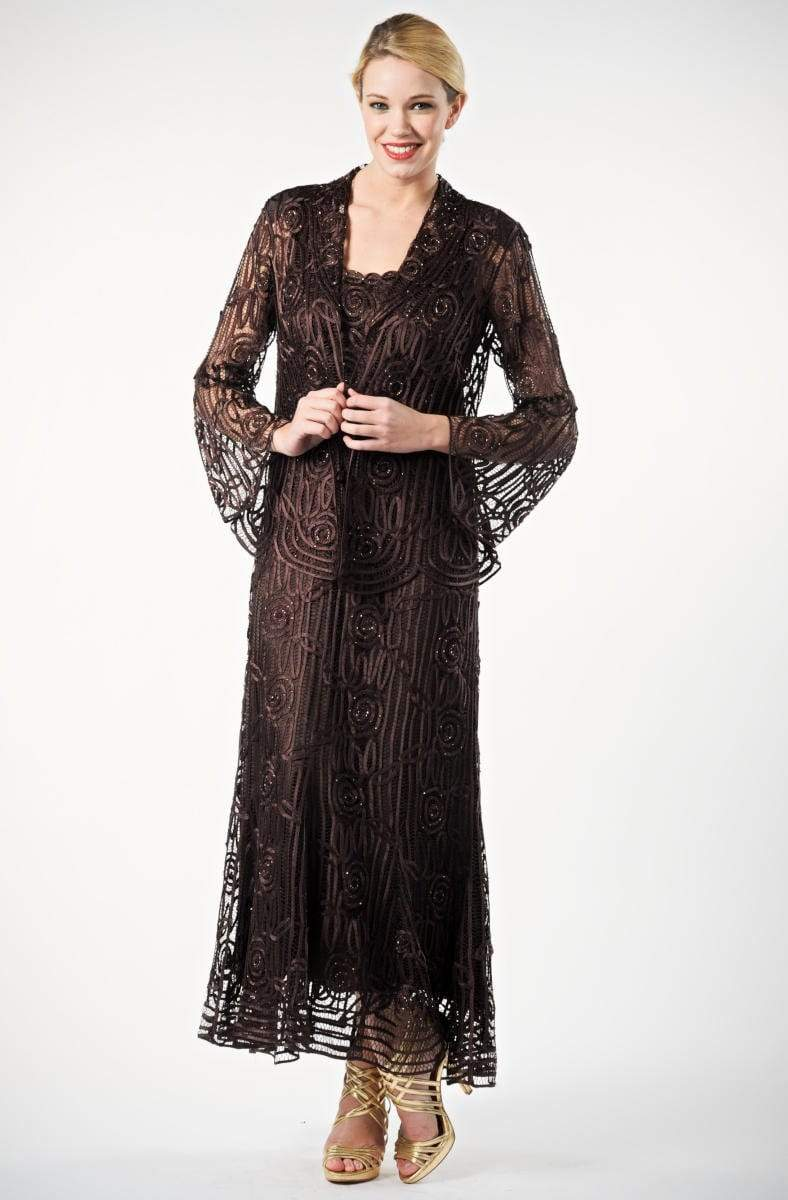 Soulmates - C1068 Beaded Silk Lace Collar Jacket with Godet Dress Set Mother of the Bride Dresses Espresso / S