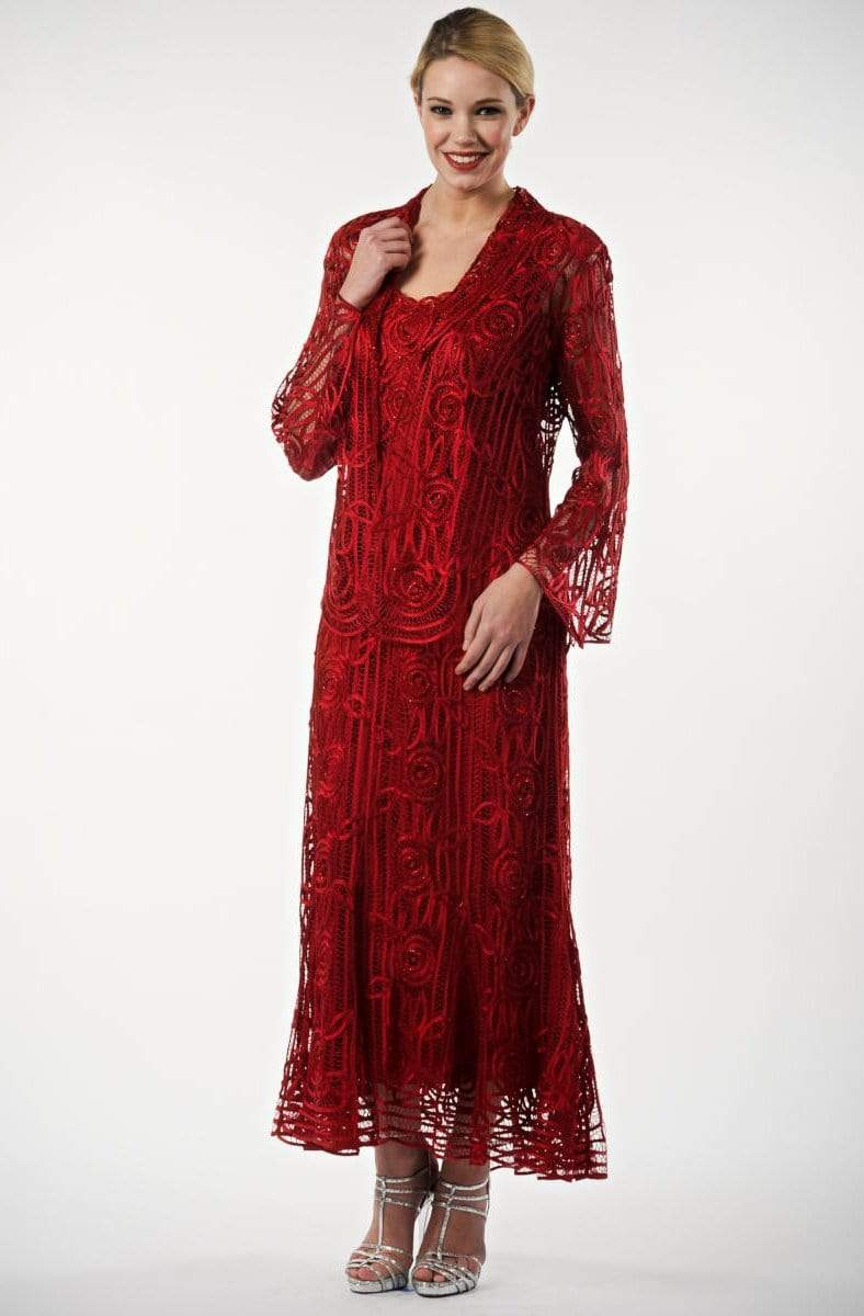 Soulmates - C1068 Beaded Silk Lace Collar Jacket with Godet Dress Set Mother of the Bride Dresses Merlot / S