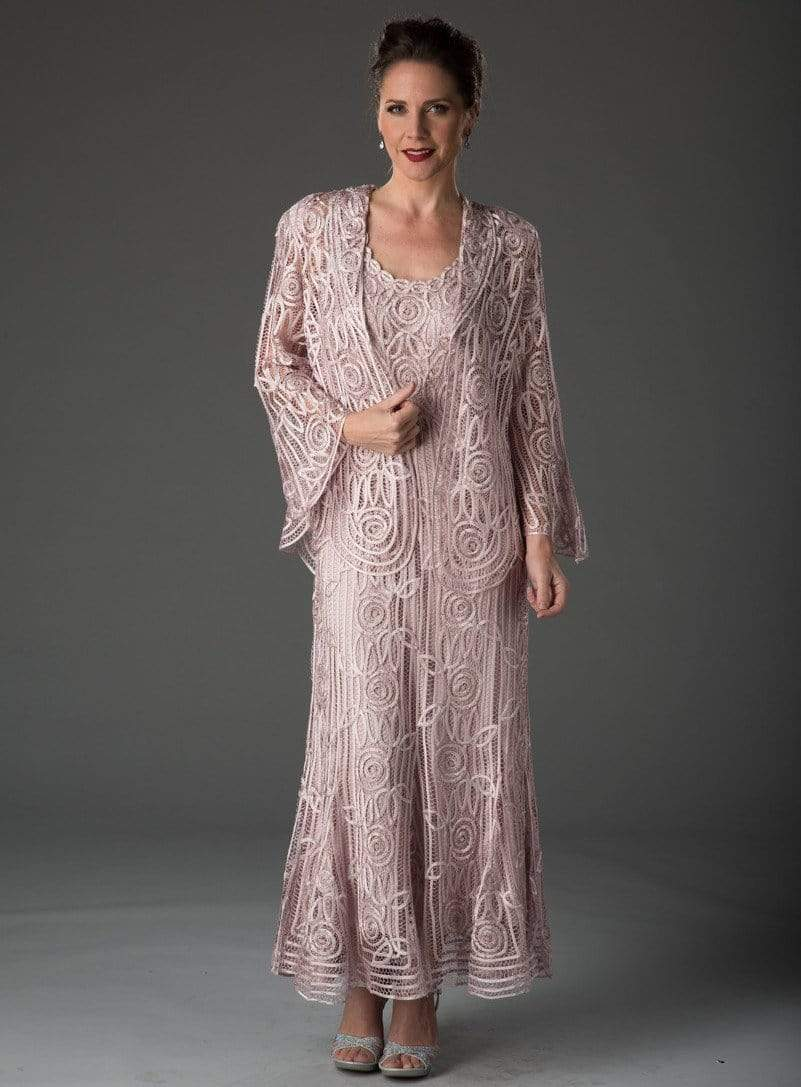 Soulmates - C1068 Beaded Silk Lace Collar Jacket with Godet Dress Set Mother of the Bride Dresses Pearl Pink / S