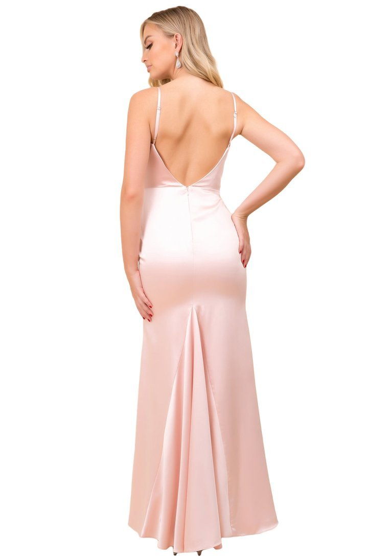 Nox Anabel - Sleeveless Cowl Neckline Sheath Satin Gown C302 In Pink