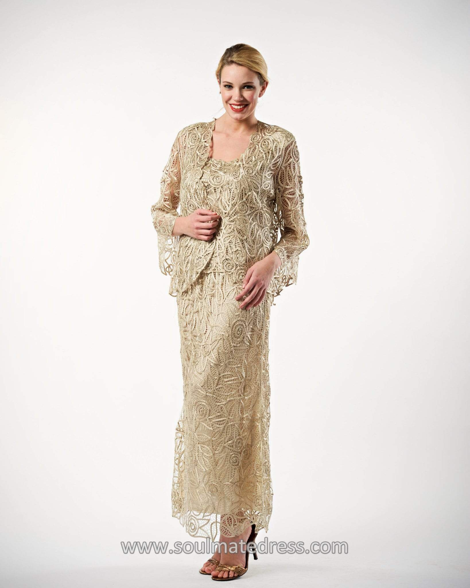 Soulmates - C710 Quarter Bell-Sleeve Jacket Three Piece Skirt Set Mother of the Bride Dresses