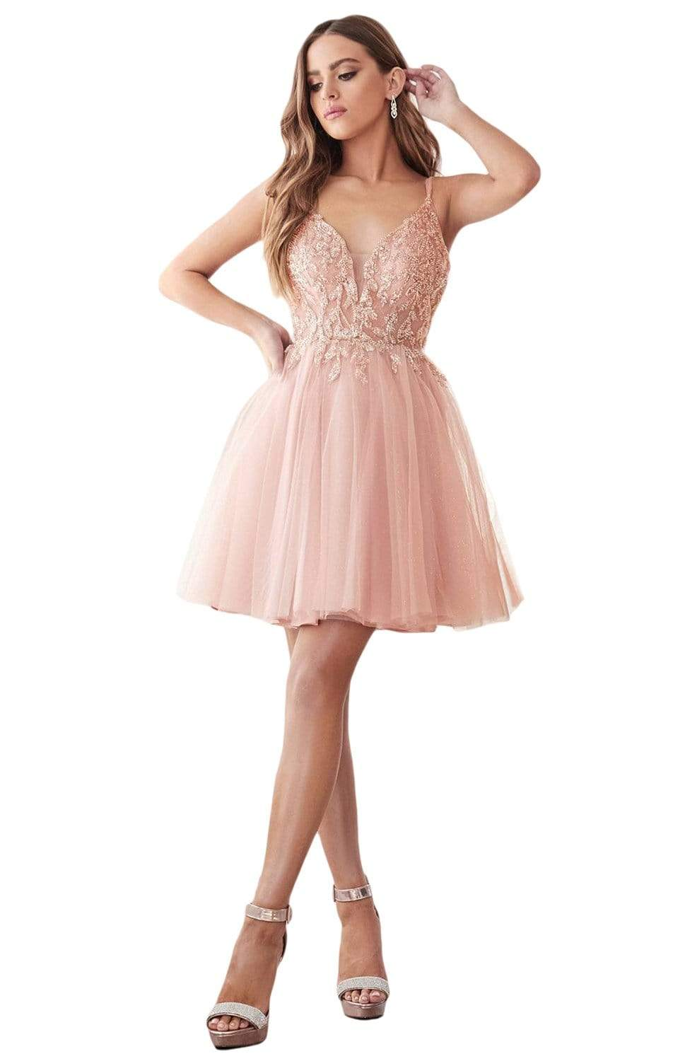 Cinderella Divine - CD0155 Short Beaded Applique Plunging Bodice Dress In Pink
