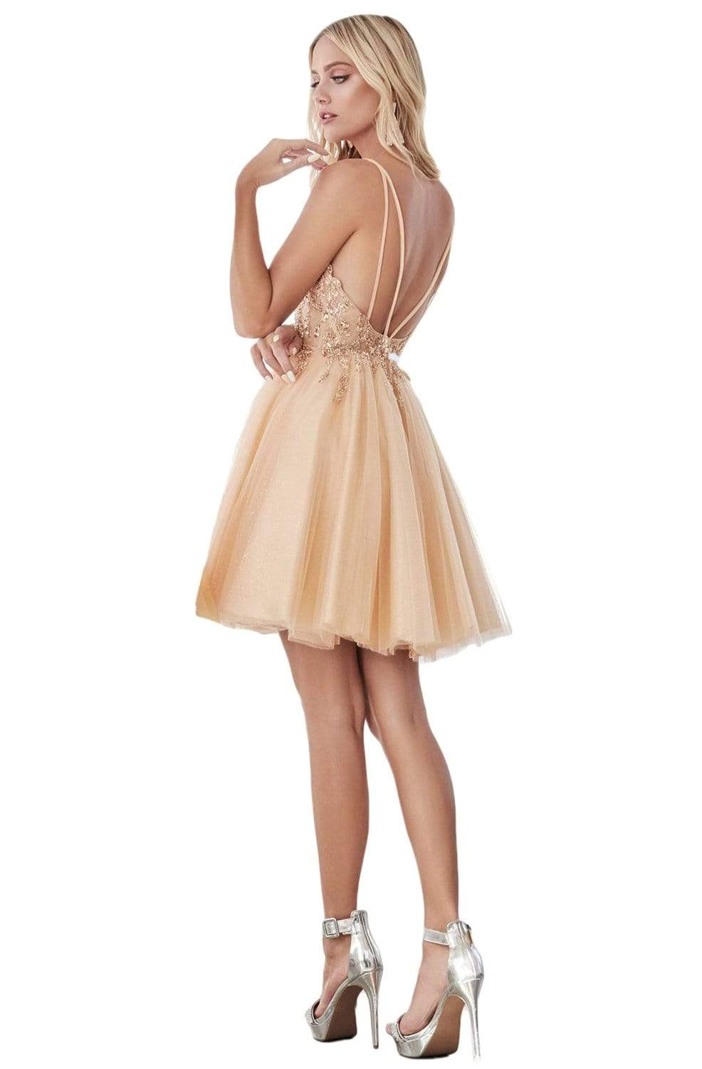 Cinderella Divine - CD0155 Short Beaded Applique Plunging Bodice Dress In Gold