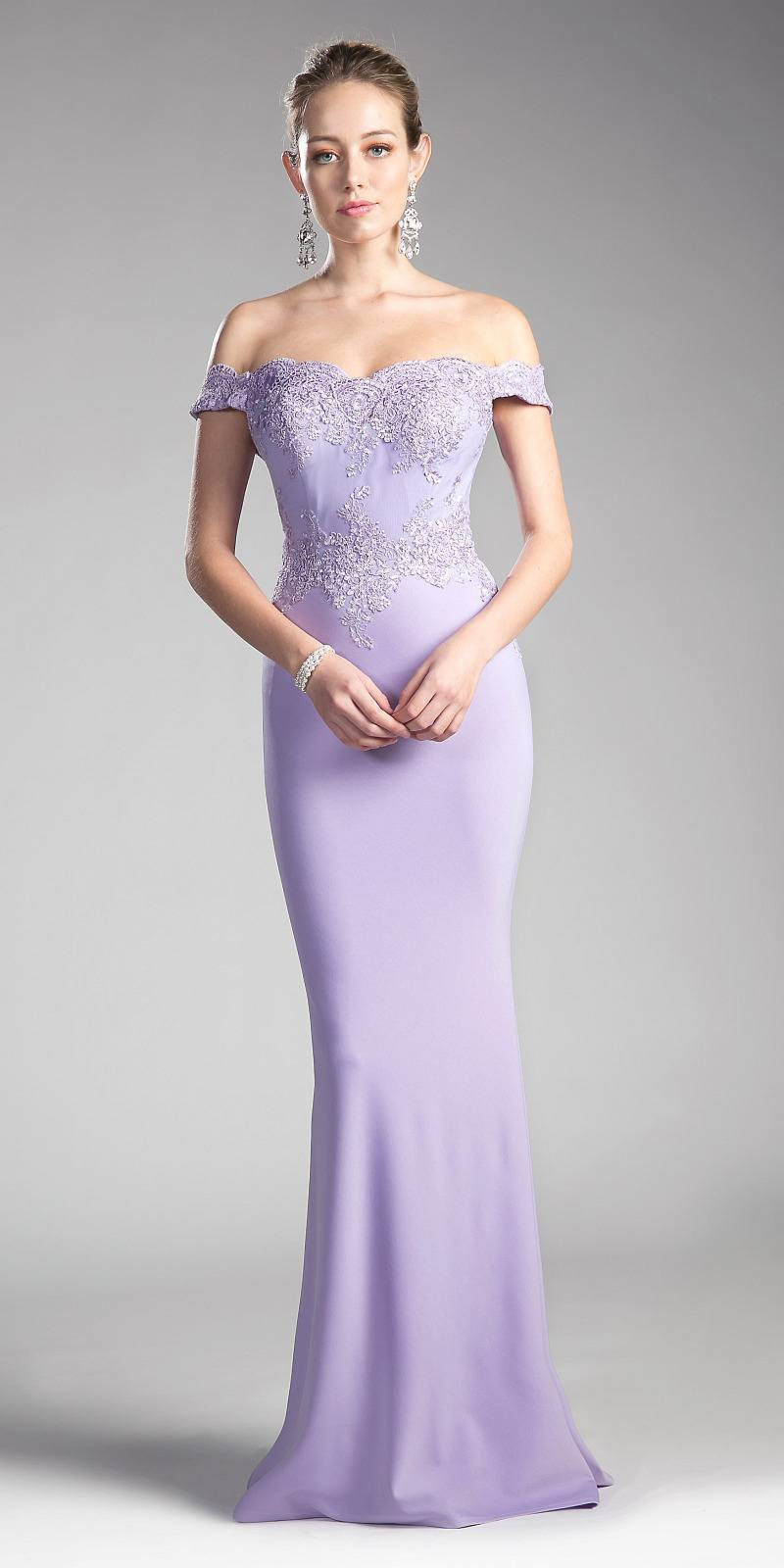 Cinderella Divine - CF158 Off Shoulder Stretch Crepe Satin Gown Special Occasion Dress XS / Lilac
