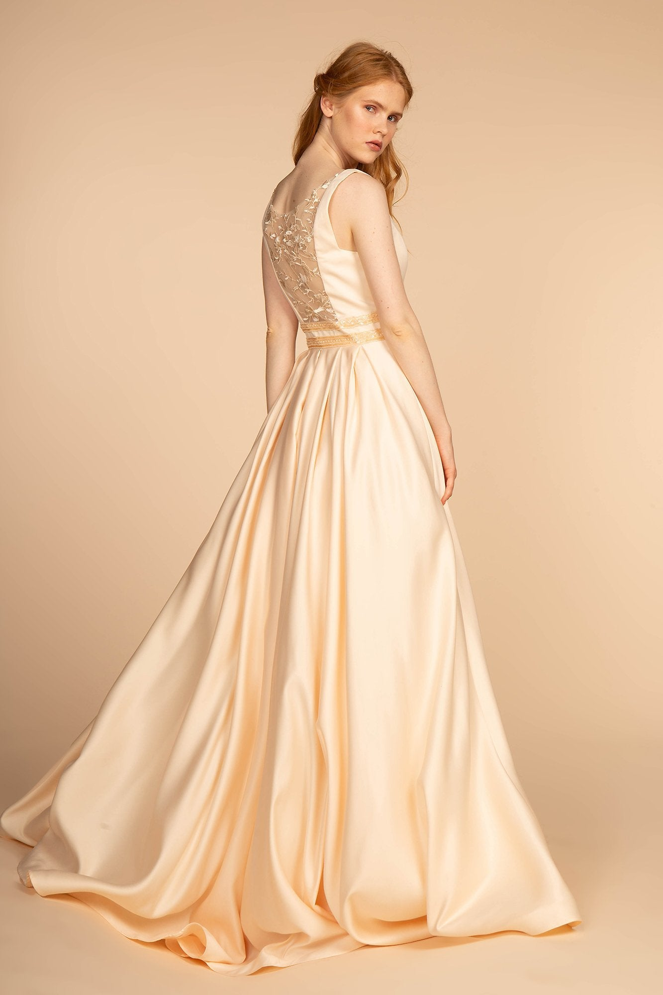 Elizabeth K - GL2531 Sleeveless Sheer Lace Applique Back Satin Gown In Yellow