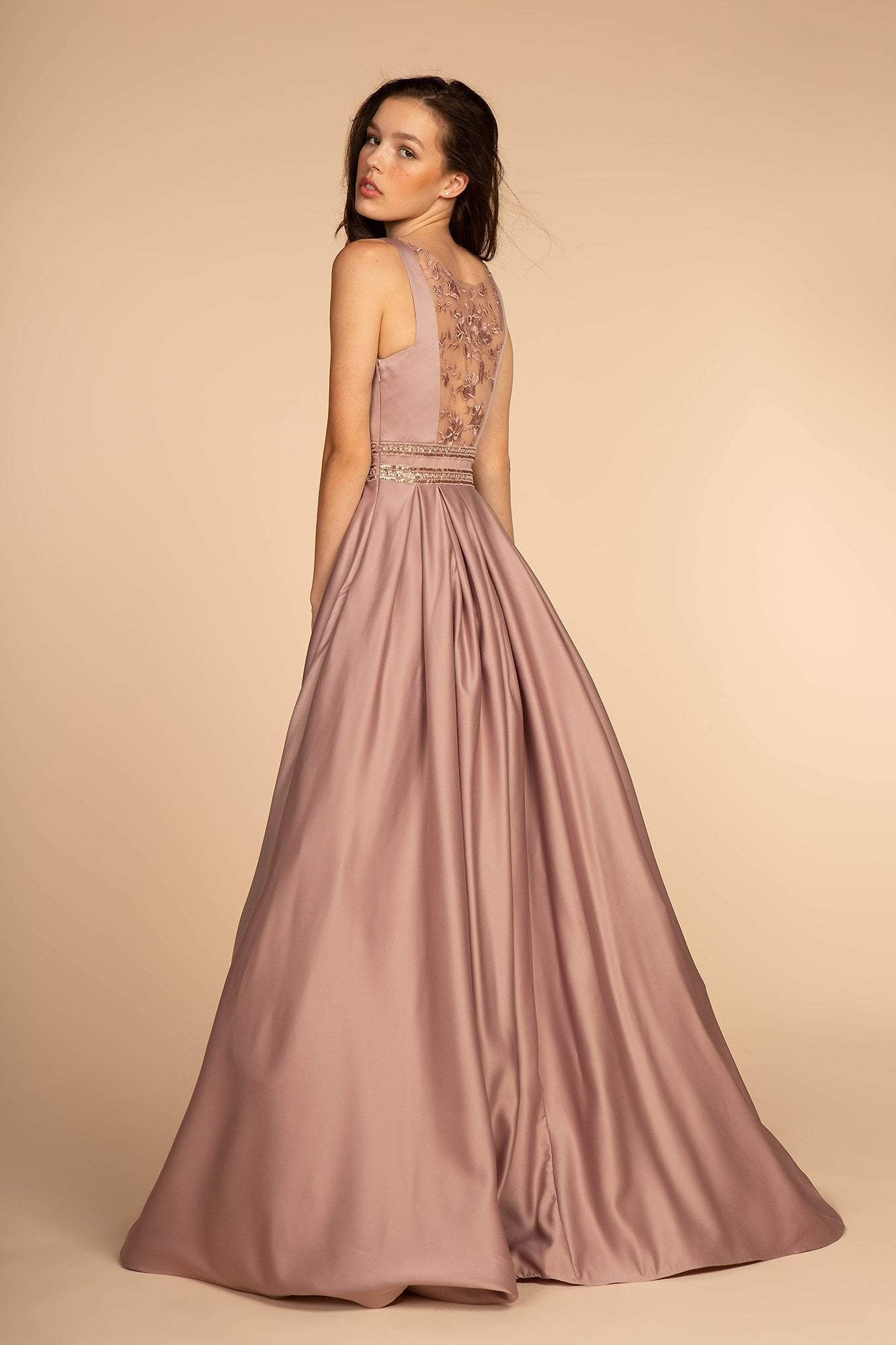 Elizabeth K - GL2531 Sleeveless Sheer Lace Applique Back Satin Gown In Purple and Brown