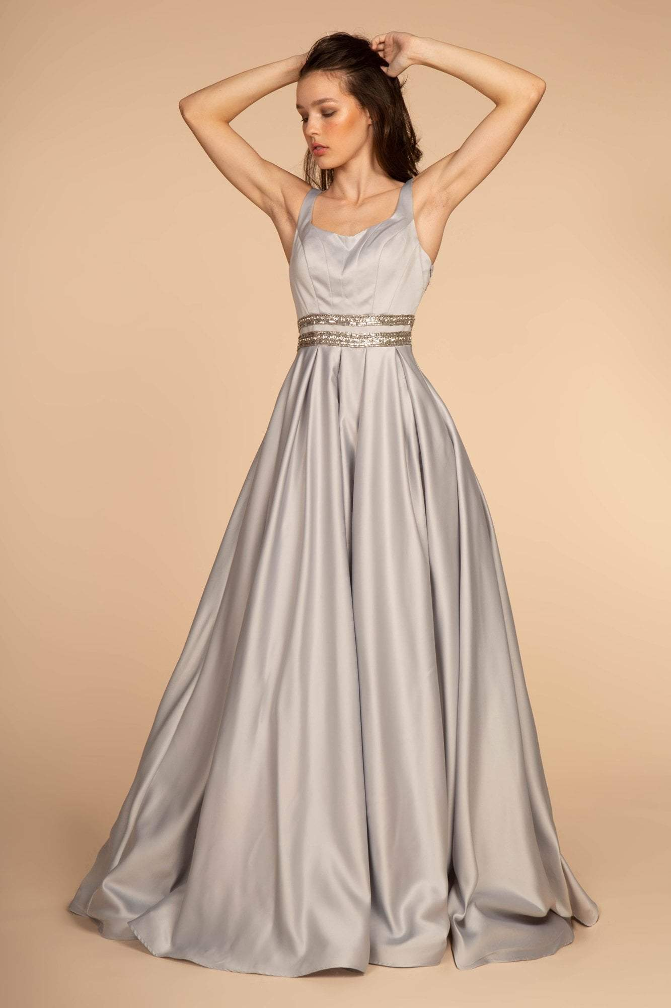 Elizabeth K - GL2531 Sleeveless Sheer Lace Applique Back Satin Gown In Silver