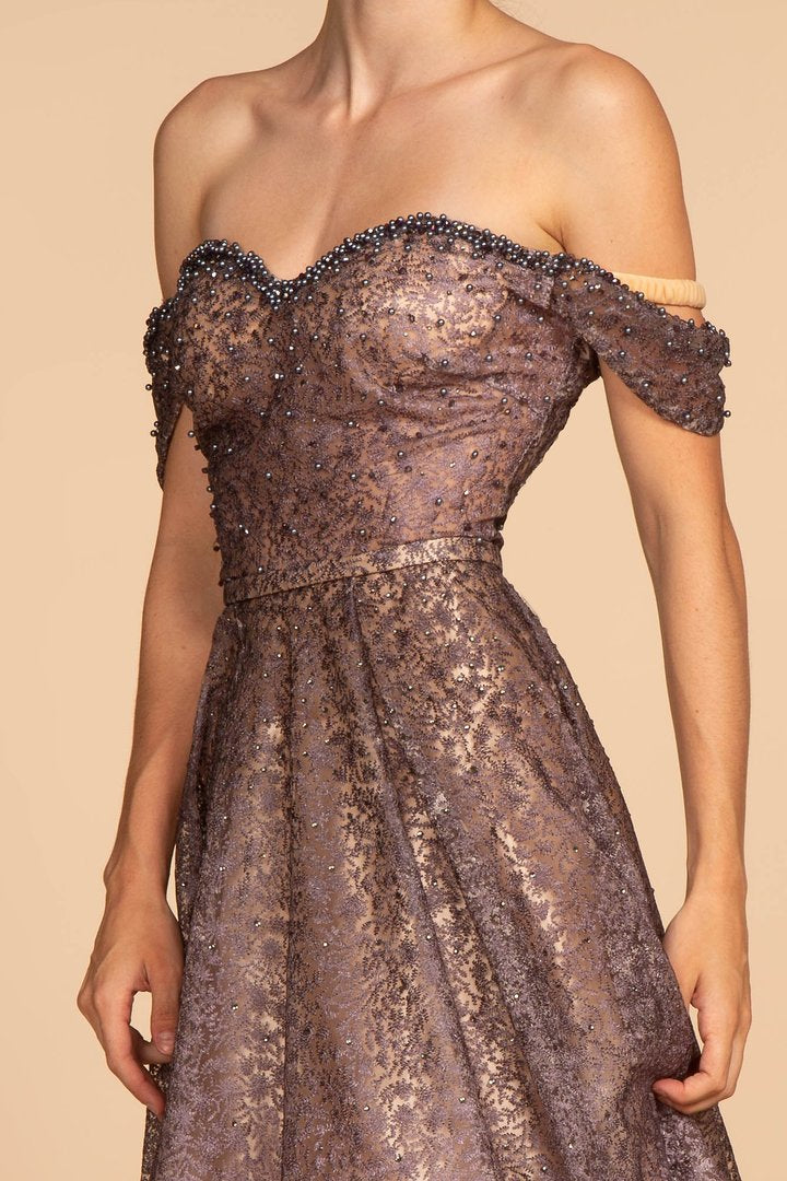 GLS by Gloria - Bead-Ornate Lace Off-Shoulder A-line Gown GL2570 In Pink and Purple