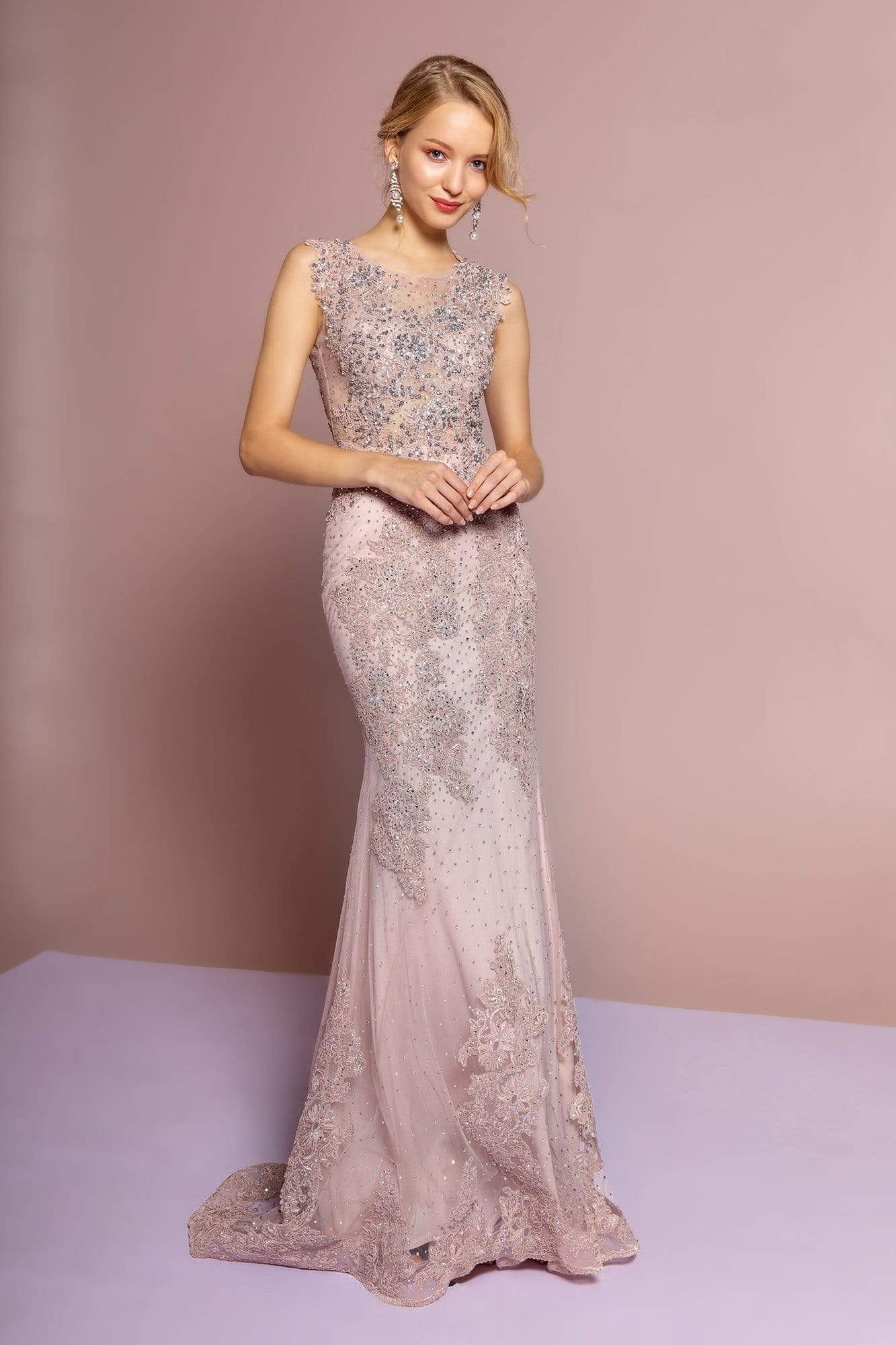 GLS by Gloria - GL2616 Cap Sleeve Appliqued Illusion Mermaid Gown Special Occasion Dress XS / Mauve