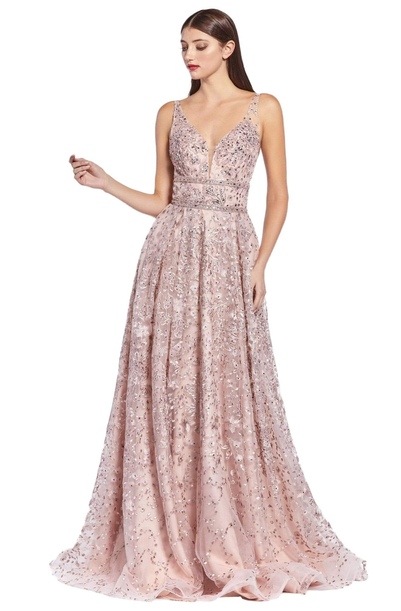 Cinderella Divine - CR840 Fit and Flare Embellished Long Dress In Pink and Purple
