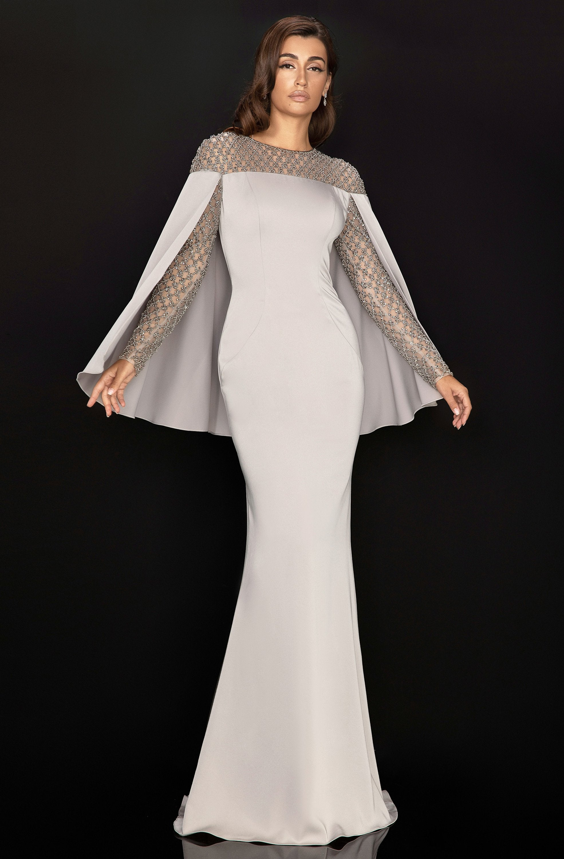 Terani Couture - 2011M2155 Beaded Long Sleeves Gown with Cape In Gray