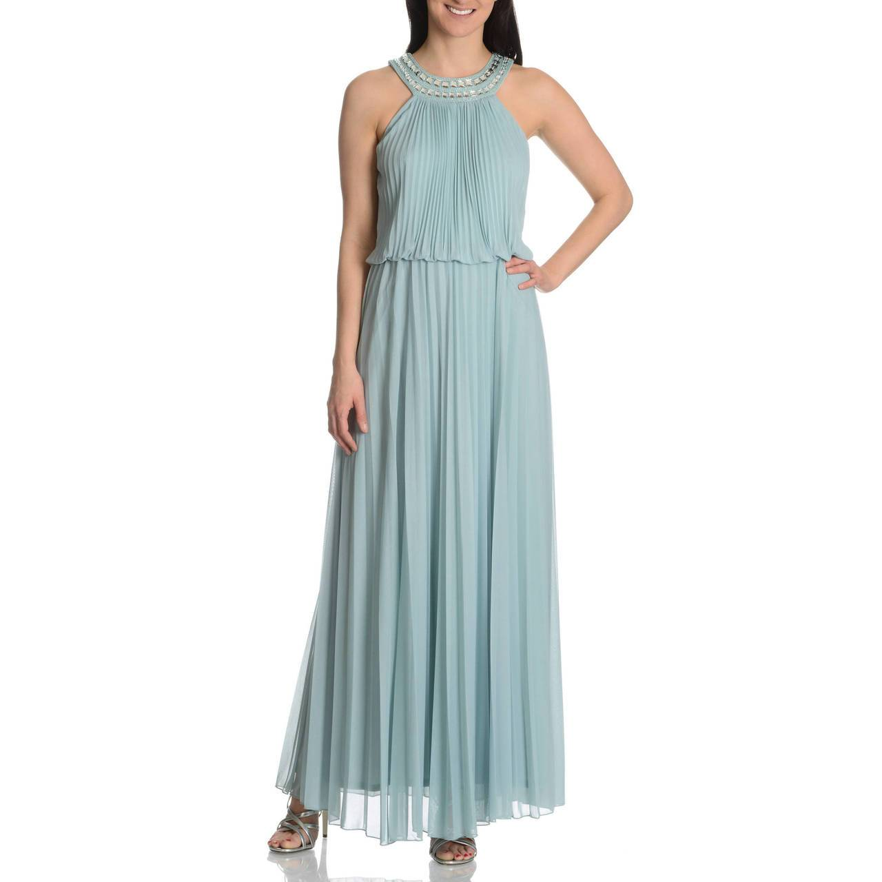 Cachet - 56579 Bejeweled Halter Accordion Pleats Long Dress in Green