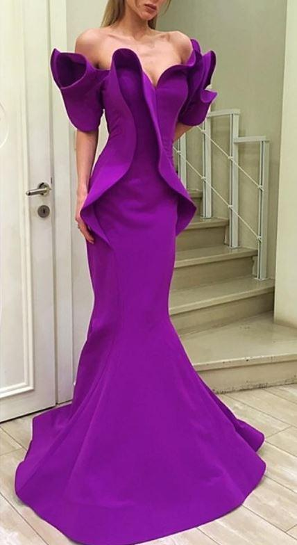 MNM Couture - 2328 Peplum Off-Shoulder Mermaid Evening Gown in Purple