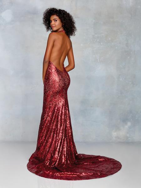 Clarisse - 3721 Sequined Plunging Halter Backless Gown In Red And Nude