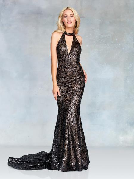 Clarisse - 3721 Sequined Plunging Halter Backless Gown In Black And Nude