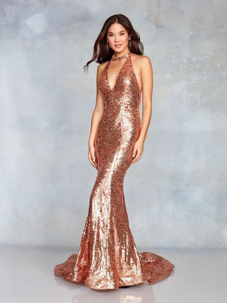 Clarisse - 3721 Sequined Plunging Halter Backless Gown In Pink And Nude