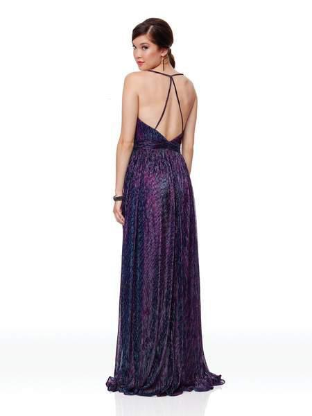Clarisse - 3727 Plunging V-neck A-line Dress With Train In Purple and Multi-Color