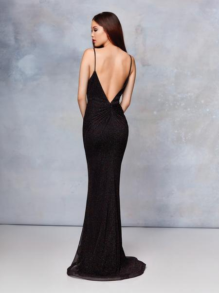 Clarisse - 3728 Plunging V-neck Trumpet Dress With Train In Black