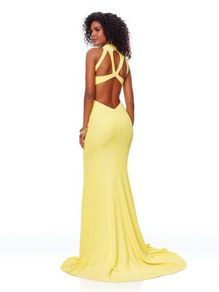 Clarisse - 3736 High Halter Mermaid Dress With Train In Yellow