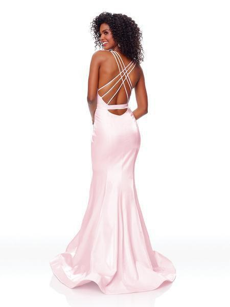 Clarisse - 3765 Deep Halter V-neck Mermaid Dress With Train In Pink