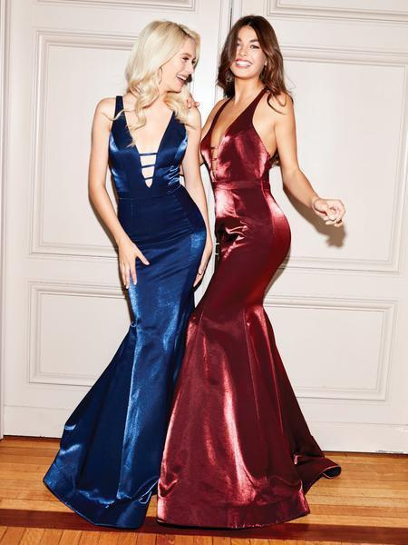Clarisse - 3765 Deep Halter V-neck Mermaid Dress With Train In Blue And Red