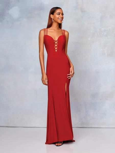Clarisse - 3775 Crisscross-Accented Plunging Jersey Gown In Red
