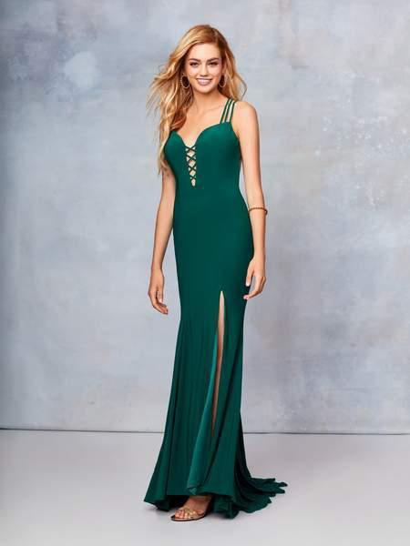Clarisse - 3775 Crisscross-Accented Plunging Jersey Gown In Green
