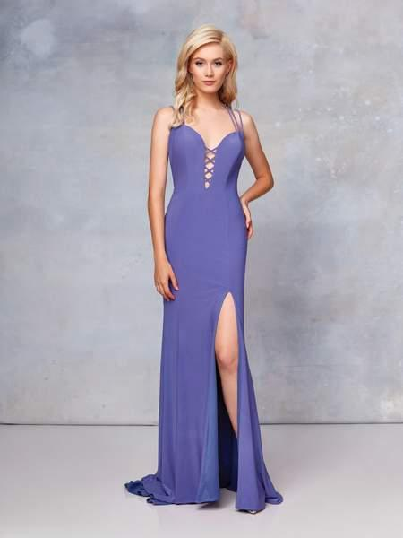 Clarisse - 3775 Crisscross-Accented Plunging Jersey Gown In Purple