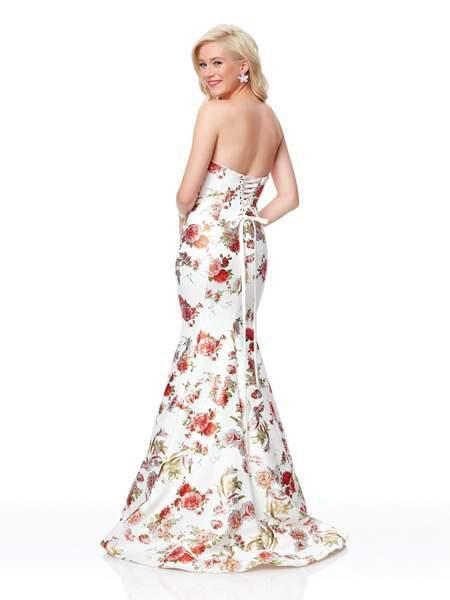 Clarisse - 3801 Floral Printed Neoprene Mermaid Dress In Ivory