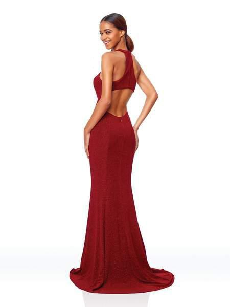 Clarisse - 3830 High Halter Glitter Jersey High Slit Gown In Red