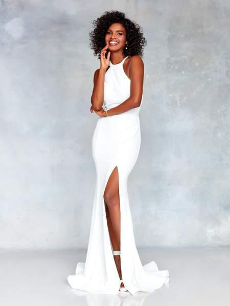 Clarisse - 3830 High Halter Glitter Jersey High Slit Gown In White