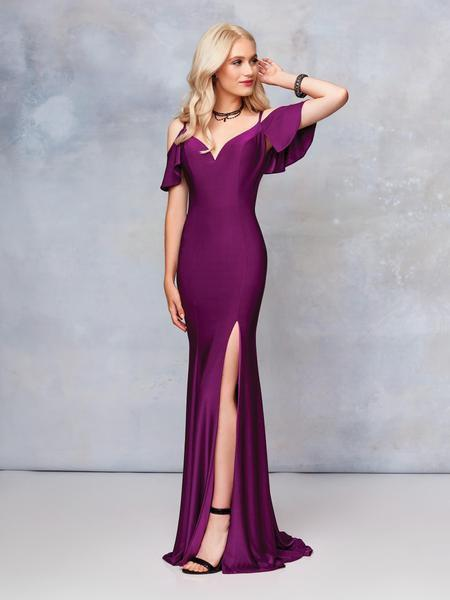 Clarisse - 3846 Fitted Jersey Evening Gown with Slit In Purple