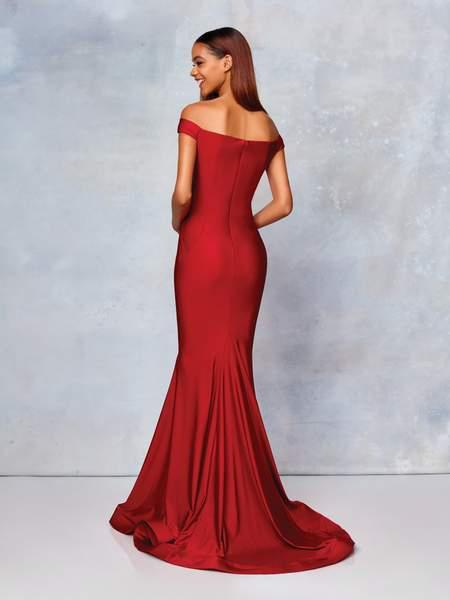 Clarisse - 3845 Off Shoulder Silk Jersey Mermaid Gown In Red