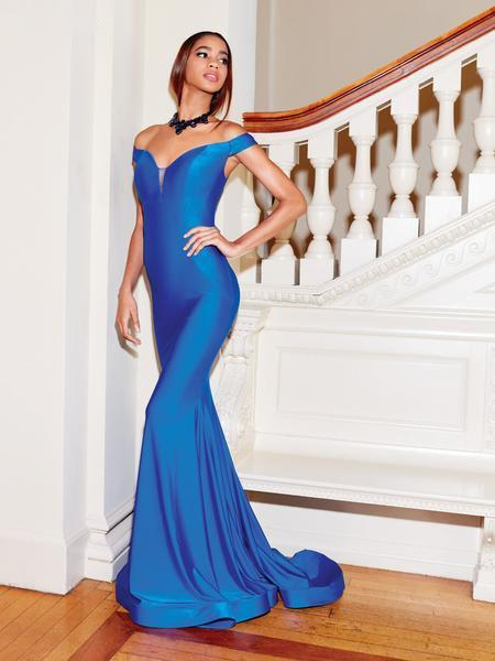 Clarisse - 3845 Off Shoulder Silk Jersey Mermaid Gown In Blue