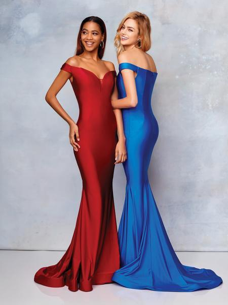 Clarisse - 3845 Off Shoulder Silk Jersey Mermaid Gown In Red and Blue