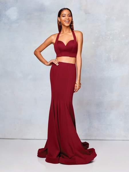 Clarisse - 3773 Two-Piece Sweetheart Bodice Mermaid Gown In Red
