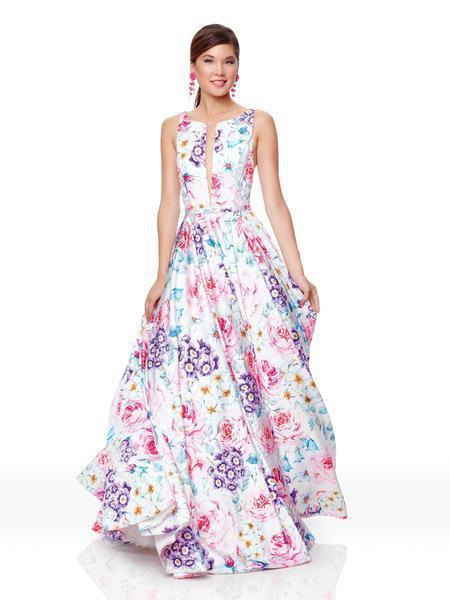 Clarisse - 3874 Floral Printed Bateau Satin A-line Dress In Purple