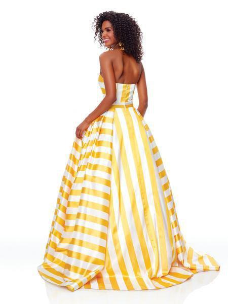 Clarisse - 3875 Two Tone Strapless Sweetheart A-line Dress In Yellow
