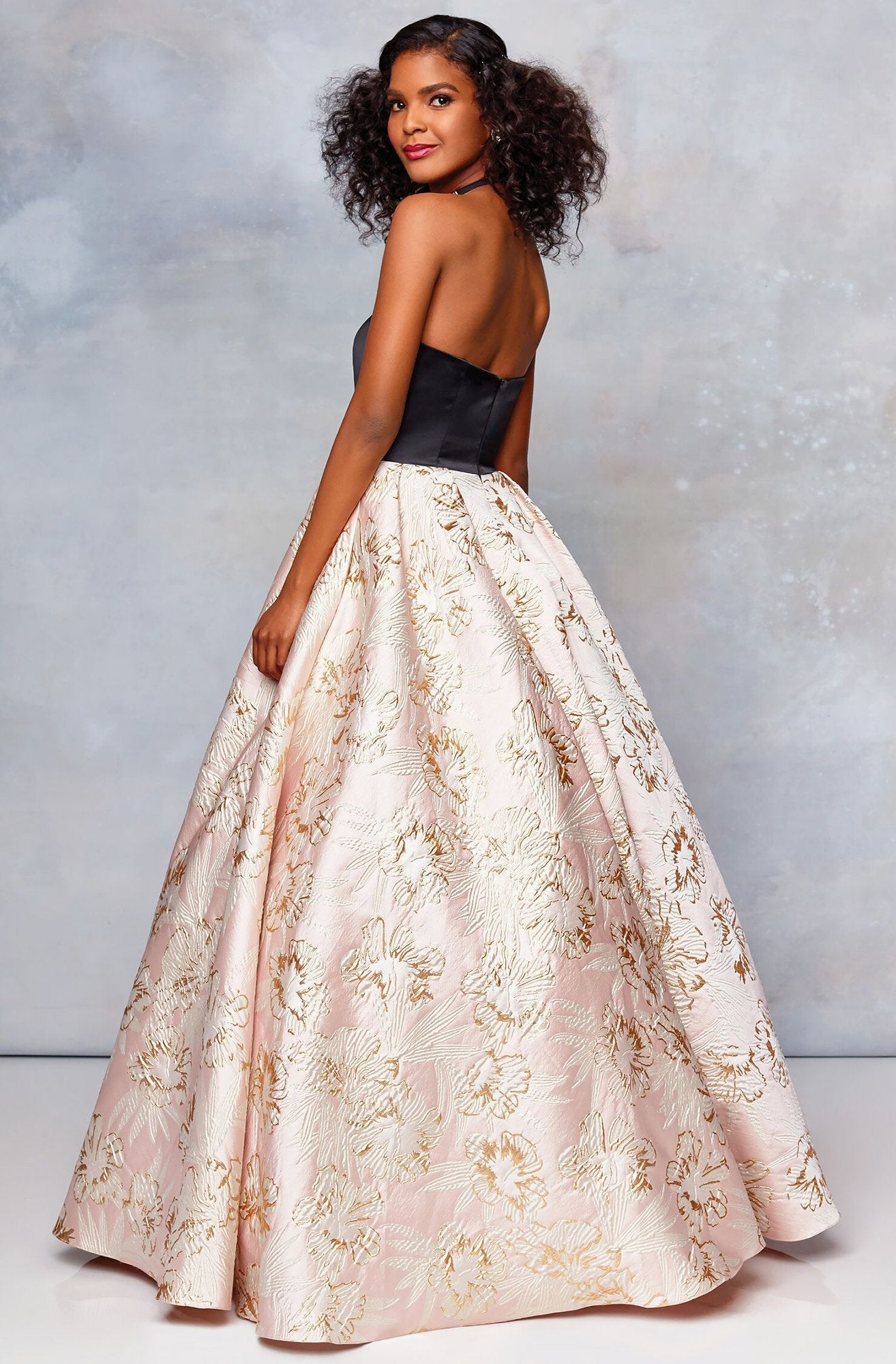 Clarisse - 5032 Two Tone Satin Sweetheart Brocade Ballgown in Black and Pink