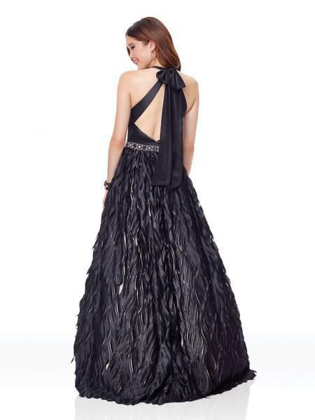 Clarisse - 5040 Beaded Halter Feathered A-line Dress In Black