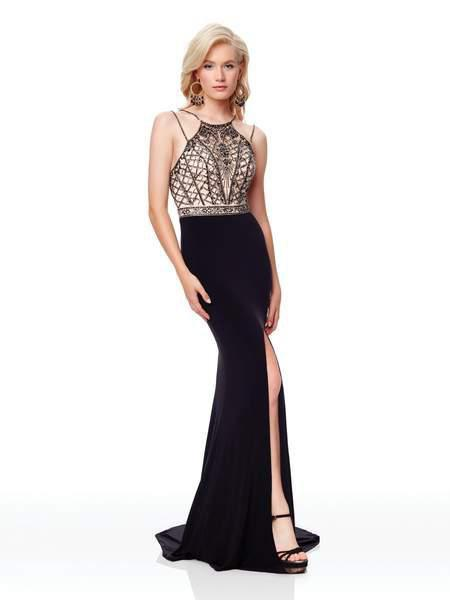 Clarisse - 3723 Beaded Halter Jersey Dress With Train In Black