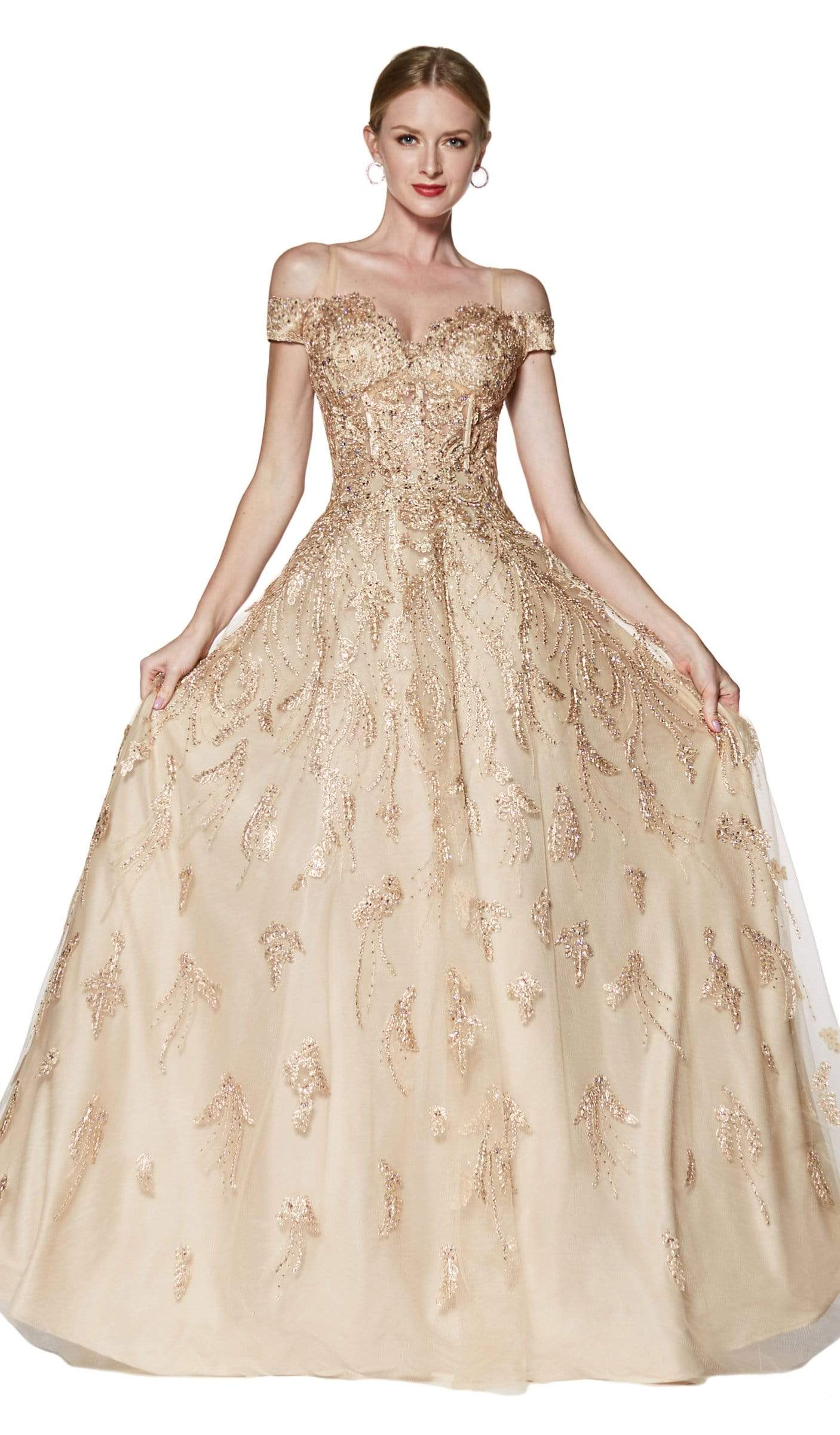 Cinderella Divine - KV1034 Beaded Lace Appliqued Ballgown In Gold