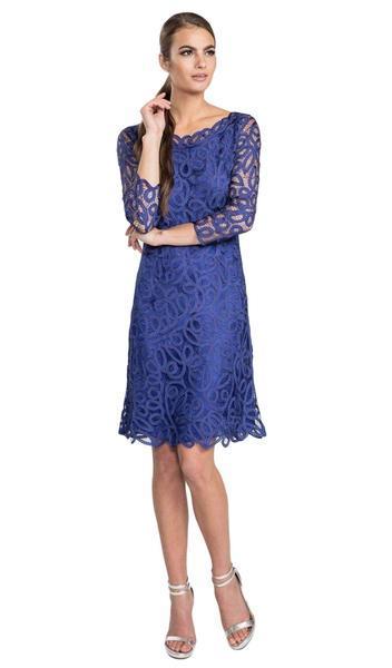Soulmates - Hand Crochet Classic Short Dress D1322 In Blue